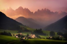 In Peace - Hazy sunset in Val Di Funes, Dolomites, Italy