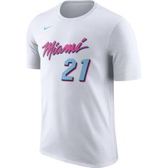46af8f9fc5b Hassan Whiteside Nike Miami HEAT Vice Uniform City Edition Name   Number Tee