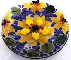 """Sun Flower In Blues 12"""" Bowl"""