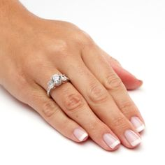 Ultimate CZ 10k White Gold Cubic Zirconia Ring | Overstock.com Shopping - The Best Deals on Cubic Zirconia