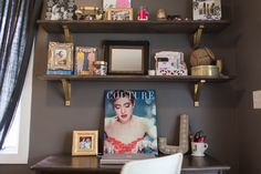 Office | Pride & Joyce // desk, DIY shelves, gold, shelf styling, vintage