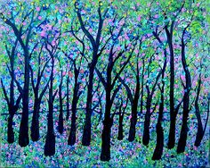 """""""Woodland Fantasy"""" by Sue Holman. This has a neon glow to it, I could see myself in this forest surrounded by pink and purple lights..."""