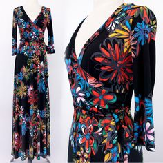 BLACK FLORAL Boutique MAXI DRESS Jersey FAUX WRAP Long Skirt CRUISE Travel S M L #tamarstreasures #FauxWrap #EveningOccasion