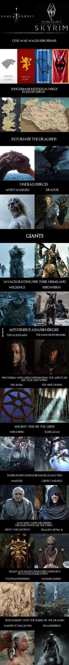 The similarities of the Games of Thrones and Skyrim are astounding. Even the faces of the characters have analogous features.  http://9gag.com/gag/aPG8rjB