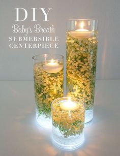 Baby's Breath Submersible Centerpiece...I'd try some sort of greenery for Christmas