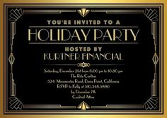 So Gatsby! Golden Glamour - Corporate #Holiday Party Invitations in a chic black and gold design