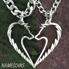 I found 'Tribal Wolf Necklace, Couples jewelry set, handcraffted Half Dollar, hand cut coin' on Wish, check it out!
