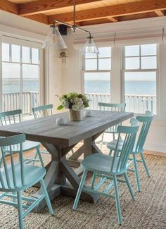 dining room beach design ideas, turquoise blue dining chairs, jute rug