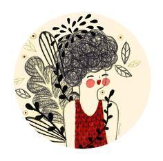 Girl with plants by Alejandra Morenilla, via Behance