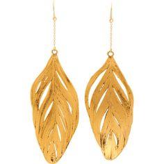 Aurélie Bidermann Gold Dipped Swan Feather Earrings ($900) ❤ liked on Polyvore featuring jewelry, earrings, accessories, hand crafted jewelry, 18k earrings, aurélie bidermann, 18 karat gold jewelry and aurelie bidermann earrings