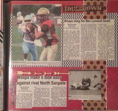 Senior scrapbook. Sports scrapbook. Scrapbook with newspaper clippings. Football scrapbook. Layouts. Scrapbook ideas.