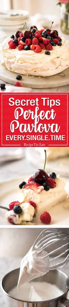 Classic Pavlova recipe with easy to follow tips that make all the difference for a perfect Pav, every time! www.recipetineats.com #frenchfoodrecipes