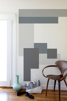 Geometric wall paint - 40 Easy DIY Wall Painting Ideas For Complete Luxurious Feel – Geometric wall paint Interior Walls, Interior Design, Interior Painting Ideas, Geometric Wall Paint, Geometric Decor, Geometric Patterns, Graphic Patterns, Geometric Shapes, Inspiration Wand