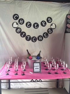Champagne table for a wild hens night!