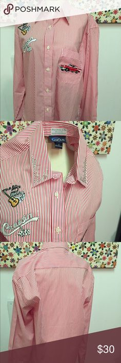 """LasOLas Rockabilly 1950s Theme Cruisin Shirt sz M 1950 's themed cotton red stripe Oxford style shirt. Features embroidery appliqués which include """"The 50's guitar and music notes"""", """"Cruisin rear view mirror Dice"""" and a vintage Car.  Rhinestone beading on collar and front.  Classic Creations by Nan, made in the Ozarks. Cotton / Poly blend fabric. Button down front and cuffs.  Excellent new condition. Does not have original tag, but was never worn. Stated size M lasolas Tops Button Down…"""