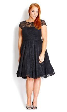 City Chic - LACE AUDREY DRESS - Women's plus size fashion - Need to try this on too - it has an awesome name :-)