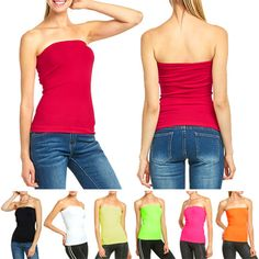 25b7b1d864e9a Women's Seamless Tube Top Basic Long Bandeau Layering Ribbed Stretch Tee  Onesize #Dresses Seamless strapless