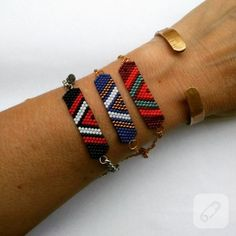 Miyuki boncuklardan brick-stitch teknikli hazırlanmış bileklik modelleri renkli ve cıvıl cıvıllar. el yapımı broşlar, kolye, küpe, bilezik ve yüzük modelleri, takı tasarım videoları....