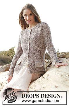 Crochet DROPS jacket in Fabel, Baby Merino and Glitter. Size: S - XXXL. Free pattern by DROPS Design.