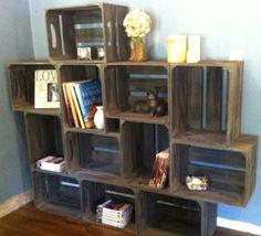 large rustic apple crate bookshelf, toyshelf, unique storage,