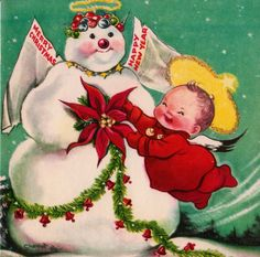 1950s Christmas card, art by Charlot Byj