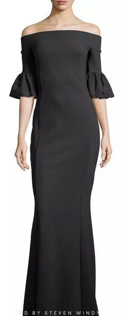 La Petite Robe di Chiara Boni Fall 2016 - Padma Off-The-Shoulder Jersey Gown -#chiaraboni #lapetiterobedichiaraboni
