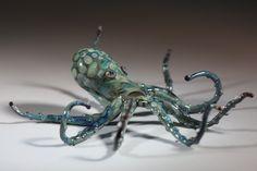 Hand Made Borosilicate Glass Octopus sculpture by TelliardGlass
