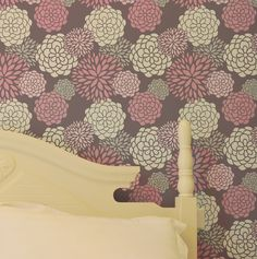 accent wall in Stella's room May Flowers 412 flower wall stencil, wall decor. $45.00, via Etsy.