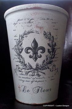 Le Fleur ~ Tall Clay Vase: Terracotta vase painted, distressed the paint in certain spots, finished with a French image and sealed.