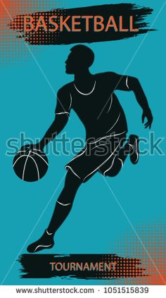 Basketball player with ball - inscription Basketball championship - background with decor elements, brush stroke - art vector. Sports Poster