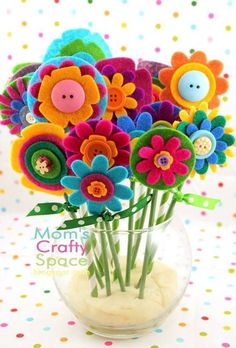 Where to buy diy layered felt flowers in marson jar with button green small stick and polka dots ribbon - felt flowers crafts