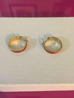 Gold Tone & Red Enamel Hoop Earrings by Monet