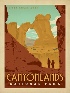 Canyonlands National Park - Anderson Design Group has created an award-winning series of classic travel posters that celebrates the history and charm of America's greatest cities and national parks. Founder Joel Anderson directs a team of talented Nashville-based artists to keep the collection growing. This print beautifully depicts the soaring wonders of Canyonlands National Park.<br />