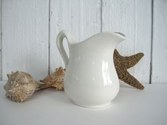 Vintage White Ironstone Pitcher Small Minimalist Cottage Chic Beach Kitchen Dinning Decor Falcon Ware Royal Crownford England by OldStoneFarmhouse on Etsy