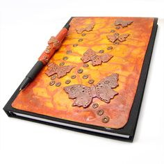 SALE  Butterfly Polymer Clay Decorated Notebook and door Kaboochie