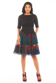 Landscape print pleated empire georgette dress #eShakti