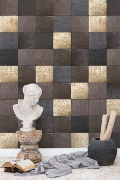 TIles of black, Brown, grey and gold. Grey And Gold, Brown And Grey, Brown And Gold Wallpaper, Design Your Own Wallpaper, Wallpaper Manufacturers, Photo Wallpaper, Beautiful Wallpaper, Wallpaper Ideas, Crop Image