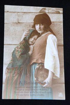1924 BNC Birthday Greeting Postcard Portrait Woman, RARE Post Card 330/3 c15