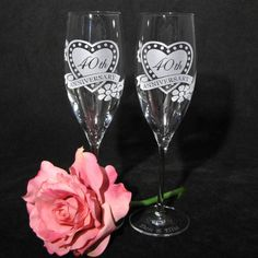 NEW 2 Fine Crystal Champagne Glasses Personalized by bradgoodell