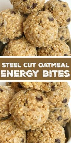 Steel Cut Oatmeal Energy Bites Steel Cut Oat Energy Balls are an easy 5 ingredient healthy snack Steel cut oats honey peanut butter chocolate chips and coconut Energy bites are the perfect afternoon snack healthyrecipe snack energybites steelcutoats # Protein Bites, High Protein Snacks, Energy Snacks, Healthy Energy Bites, Oats Snacks, Healthy Protein Balls, Energy Drinks, Oatmeal Energy Bites, No Bake Energy Bites