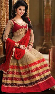 Deep Beige and Red Georgette Floor Length Anarkali Suit Price: Usa Dollar $118, British UK Pound £70, Euro87, Canada CA$128 , Indian Rs6372.