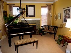 Elegant Piano Room #interior #design #draperies #piano By Room Resolutions, Inc