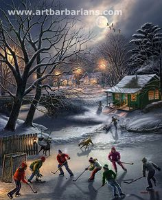 """The Warming House"" by James Meger love this painting of kids playing pond hockey [my twin sister surprised me with a framed puzzle of this painting :)]"