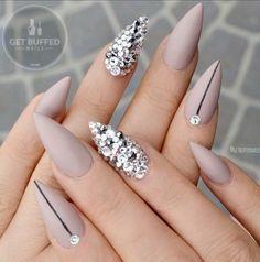 Nude Diamond Pointy Nails