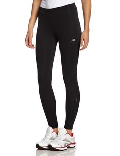 New Balance Women's Go 2 Tights, Black/Fiery Coral, X-Large. Internal drawcord.
