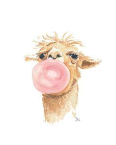 Llama Watercolor Original Painting, Bubblegum Bubble, Llama Painting, Nursery Art, 8x10 art. $49.00, via Etsy.