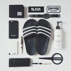 Black and white flatlay #flatlay #black #white #heisenberge #adidas #herschel #carhartt #casio