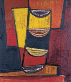 Terry Frost, RED, YELLOW AND BLACK, 1955 signed, inscribed with title and dated verso 't Frost '58 Red Yellow and Black' oil on canvas 44 x 39 inches 114.1 x 101.4 cm