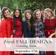 Modest fall fashions, bridesmaids dresses, classy little girls' styles, ruffles & lace: new styles coming soon to www.daintyjewells.com!
