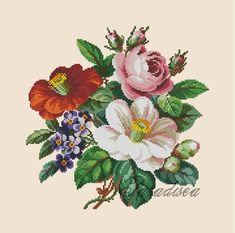 Cross-stitch pattern Bouquet of camellias by ParadiseaShop on Etsy